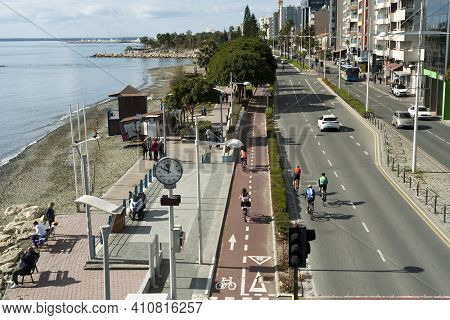Limassol, Cyprus, February 14th, 2021: 28th October Avenue, Seafront Pedestrian Path And Coastal Roa