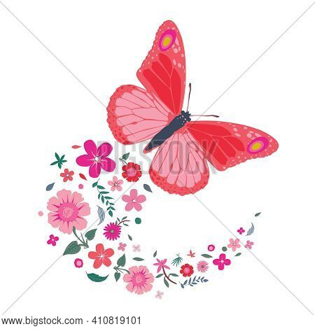 Spring And Summer Flowers Falling From A Flying Butterfly. Colorful Silhouettes On White Background