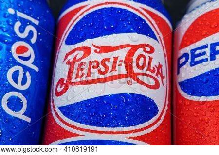 Tyumen, Russia-november 01, 2020: Pepsi Logo With Water Drops Isa Carbonated Soft Drinks By Pepsico.