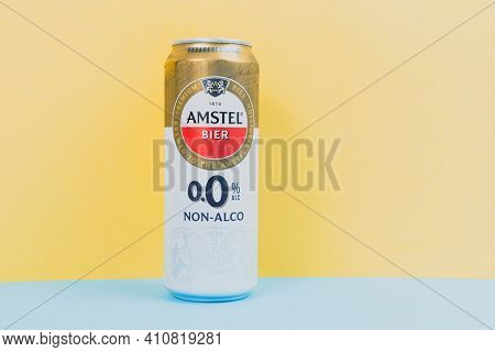 Tyumen, Russia-december 10, 2020: Amstel Premium Pilsener Beer Can Logo Of Non-alcoholic Beer Close-