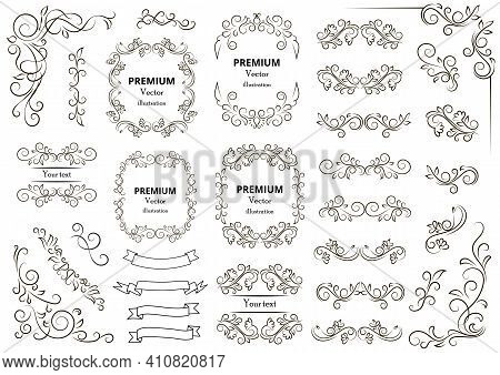 Calligraphic Design Elements . Decorative Swirls Or Scrolls, Vintage Frames , Flourishes, Labels And