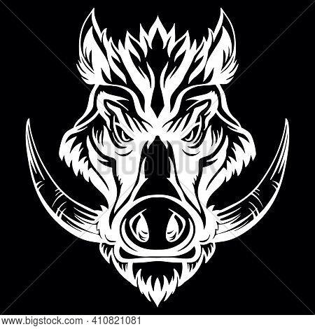Mascot. Vector Head Of Boar. White Illustration Of Danger Wild Pig Isolated On Black Background. For