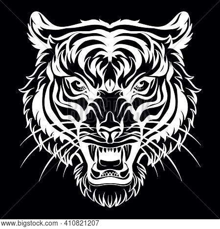 Mascot. Vector Head Of Tiger. White Illustration Of Danger Wild Cat Isolated On Black Background. Fo