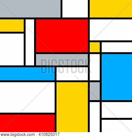 A Fun, Bright And Colorful Color Composition, In The Style Of Mondrian.