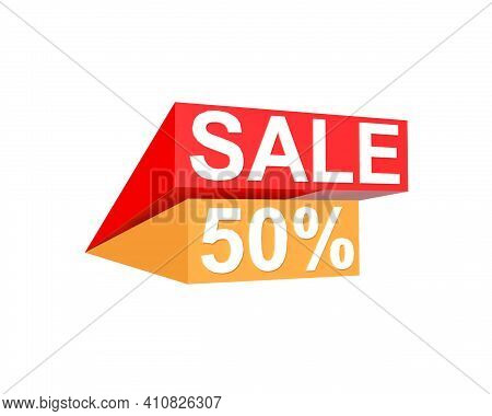 Red Sale And Yellow 50 Percent Off On White Background With Clipping Path
