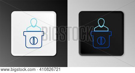 Line Information Desk Icon Isolated On Grey Background. Man Silhouette Standing At Information Desk.