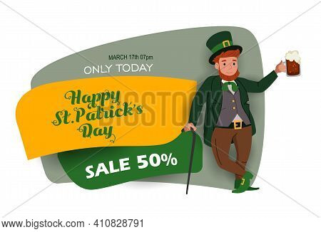 Saint Patrick's Day Discount And Sale Sticker With Irish Fantastic Character Leprechaun. Special Off