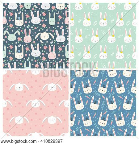 Set Of Seamless Patterns With Rabbits. Colorful Hand Drawn Rabbits In A Simple Childish Cartoon Styl