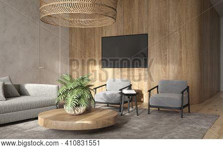 Minimalism Modern Interior  Scandinavian Design. Bright Studio Living Room. Cozy Design Large Modula