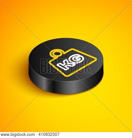 Isometric Line Weight Icon Isolated On Yellow Background. Kilogram Weight Block For Weight Lifting A