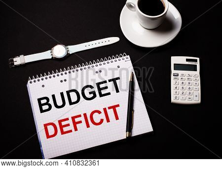 Calculator With Budget Deficit On Display Isolated On White Background