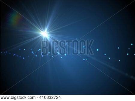 Glowing blue spot of light over blue spots on blue background. light and colour concept digitally generated image.