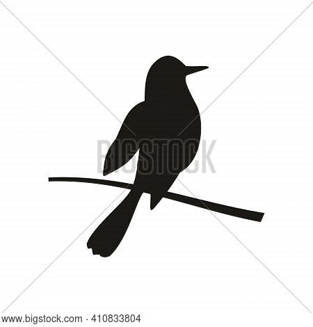 Bird Perched On A Branch. Vector Black Icon