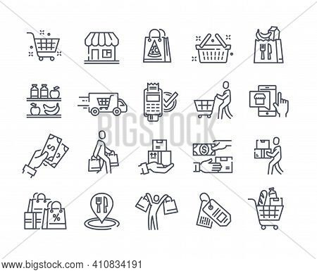 Black Icons Set For Retail, Grocery, Restaurant Food Delivery Concept. Flat Outline Cartoon Vector I