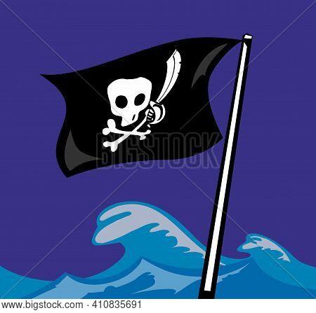 Pirate Flag. Jolly Roger. Vector Flat Color Illustration