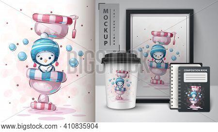 Penguin On Toilet - Poster And Merchandising. Vector Eps 10