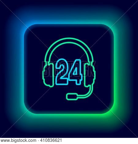 Glowing Neon Line Headphone For Support Or Service Icon Isolated On Black Background. Consultation,