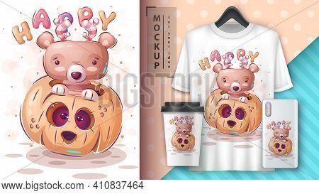 Happy Bear - Poster And Merchandising. Vector Eps 10