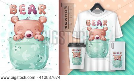Bear In Cup - Poster And Merchandising. Vector Eps 10
