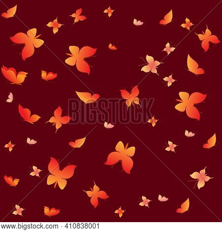Summer Romantic Pattern With Butterflies On Brown. Decorative Colorful Elegant Romantic Seamless Pat
