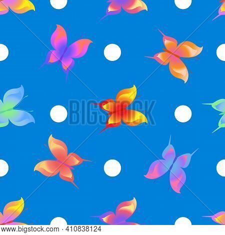 Summer Romantic Pattern With Butterflies On Blue. Decorative Colorful Elegant Romantic Seamless Patt