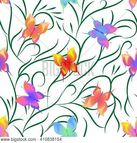 Summer Romantic Pattern With Butterflies On White. Decorative Colorful Elegant Romantic Seamless Pat