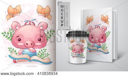 Pig Read Book Poster And Merchandising. Vector Eps 10