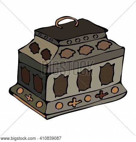 Items For Storage: Metal Casket, Forged. Hand Drawn Graphics, Vector.