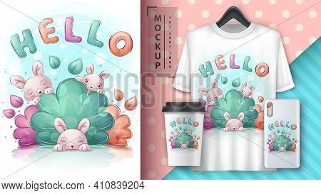 Bunny In Bush Poster And Merchandising. Vector Eps 10