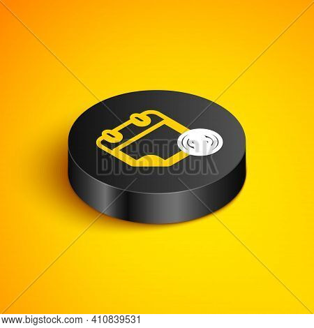 Isometric Line Financial Calendar Icon Isolated On Yellow Background. Annual Payment Day, Monthly Bu
