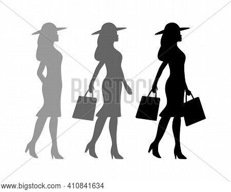 Shopping Process. Woman Holding Handbags Silhouette. Vector Black Icon