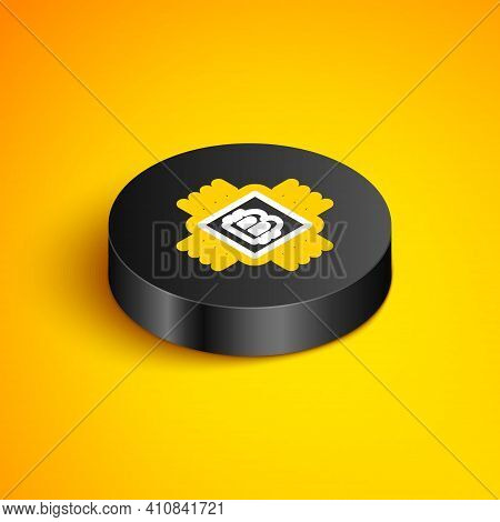 Isometric Line Cpu Mining Farm Icon Isolated On Yellow Background. Bitcoin Sign Inside Microchip. Cr