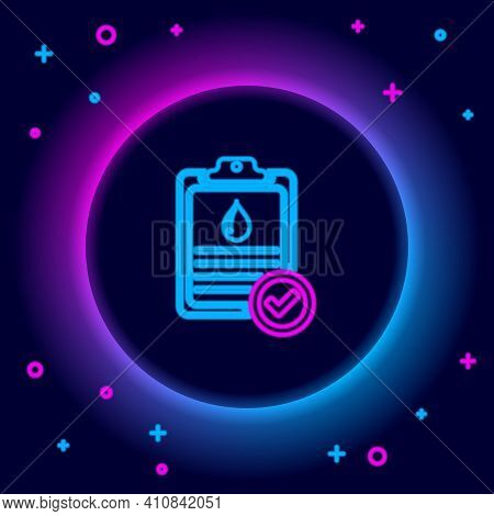 Glowing Neon Line Medical Clipboard With Blood Test Results Icon Isolated On Black Background. Clini