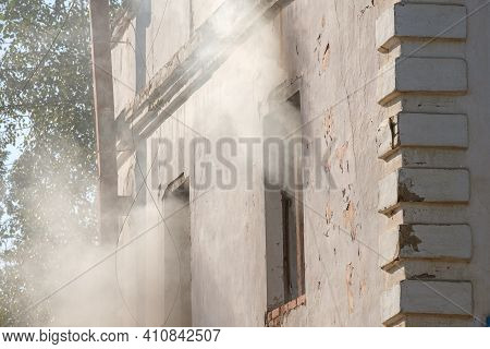 Smoke From The Window Of An Abandoned House, Abandoned Houses A Fire Hazard