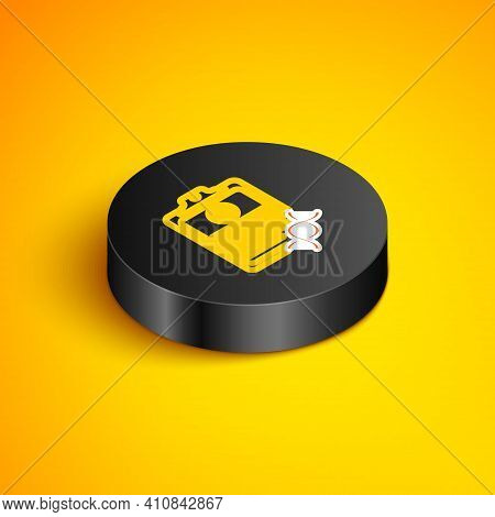 Isometric Line Clipboard With Dna Analysis Icon Isolated On Yellow Background. Genetic Engineering,