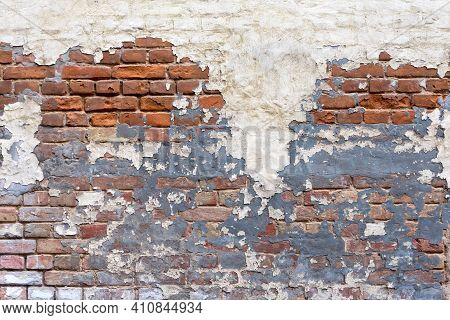 Grunge Empty Red Stonewall Background. Old Brick Wall Texture. Painted Distressed Wall Surface. Weat