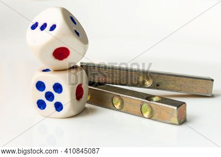 View Of The Different Types Of Dices Used In Play. Rolling Out The Dices And Long Cuboid Dice. Selec