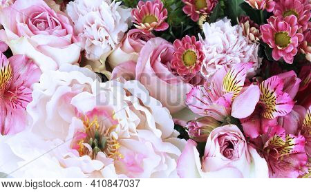 Solid Background Of Pink Peonies, Roses And Alstroemeria. Festive Flower Arrangement. Background For