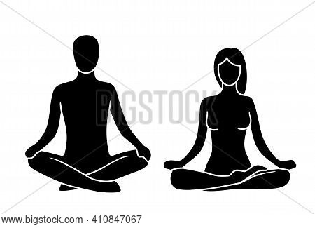 Man And Woman Of Lotus Yoga Pose. Lotus Pose. Vector Illustration For Label, Icon, Web. Isolated On