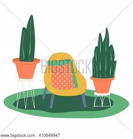 Cozy Armchair In Cartoon Style On White Background. Minimal Design. Flat Style. Cozy Armchair And Ho