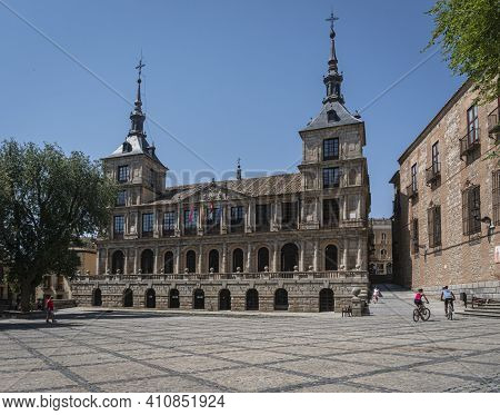 Toledo, Spain, July 2020 - Town Hall In The City Of Toledo, Spain