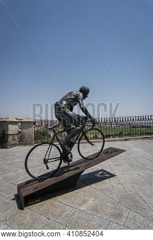 Toledo, Spain, July 2020 - Statue Of Federico Martín Bahamontes,  A Celebrated Cyclist And Adoptive