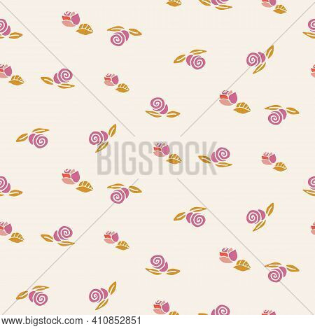 Scattered Pink Roses Seamless Vector Pattern. Ditsy Surface Print Design For Girly Fabrics, Mothers