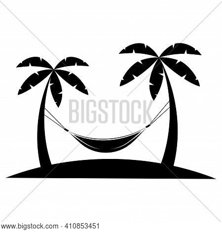 Hammock Icon In Glyph Style. Hammock Between Palm Trees In Black Color. Glyph Icon Relaxes. Palm Tre