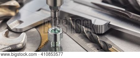 Hex Drill Bit Screw Hex Bolt In Metal Steel Plate With Ruler And Caliper. Spanner, Bolt, Screw And N