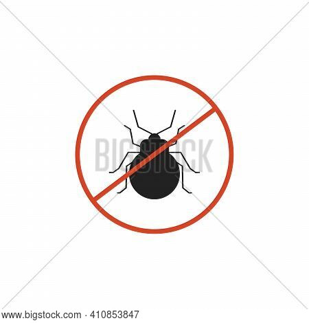 The Mite With Red Ban Sign. Stop Mite Sign Isolated. Anti Mite Parasite Icon. Vector Illustration On
