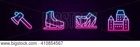 Set Line Wooden Axe, Skates, Royal Ontario Museum And Chateau Frontenac Hotel. Glowing Neon Icon. Ve