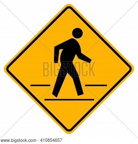 Pedestrian Crossing Warning Road Sign On White Background