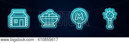 Set Line Ukrainian House, Varenyky Bowl, Metro Or Underground And Mace. Glowing Neon Icon. Vector