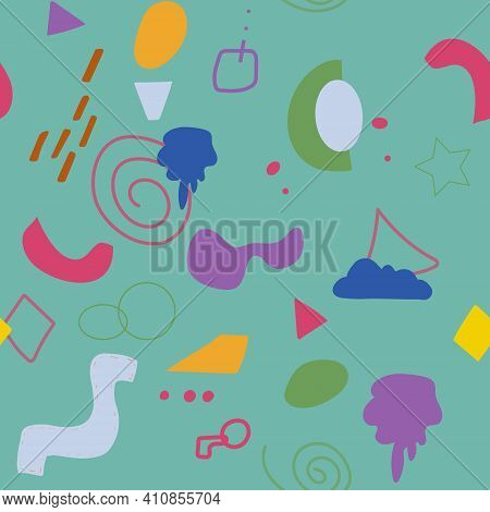Seamless Pattern Of Abstract Minimalist Elements. Simple Shapes, Blotches Of Paint, Lines, And Geome